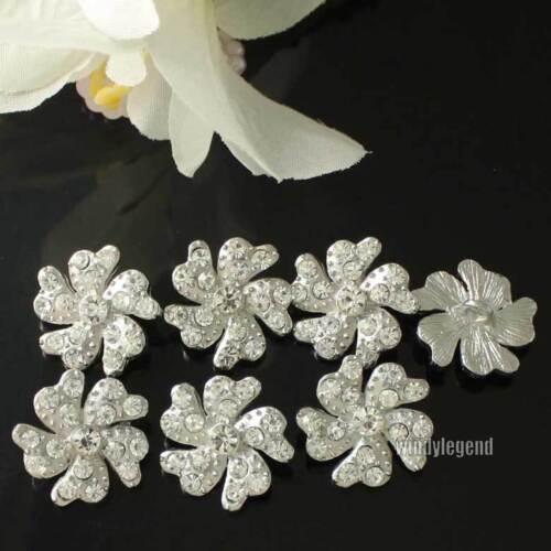 Klar Strass Blumen Kristall Knöpfe Silber Nähen Handgemacht 1,9 cm 20 Stück