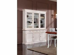 Credenza Con Piattaia Shabby : Credenza vetrina in legno colore bianco o avorio stesso prezzo