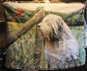 Bearded collie woven throw design #5 amazing!