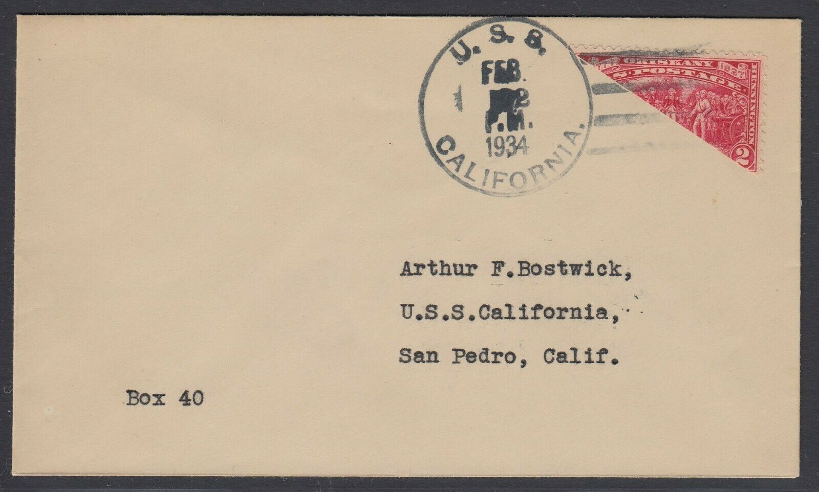 US Sc 644 - 1934 Diagonal BISECT on cover from USS California
