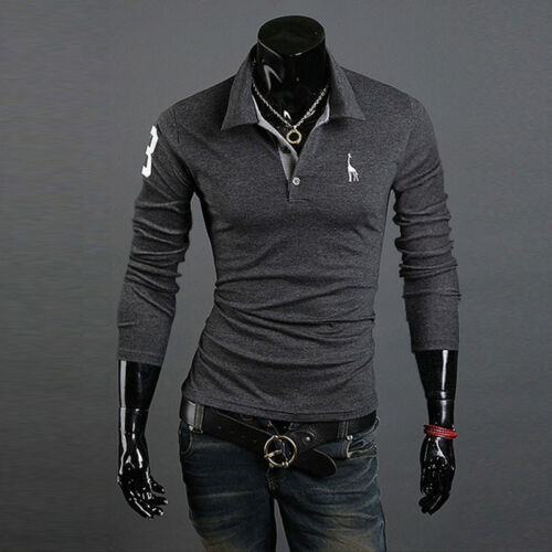 Mens Boys V-neck Shirt Slim Fit Bodybuilding Casual Long Sleeve T-shirt Tee Tops