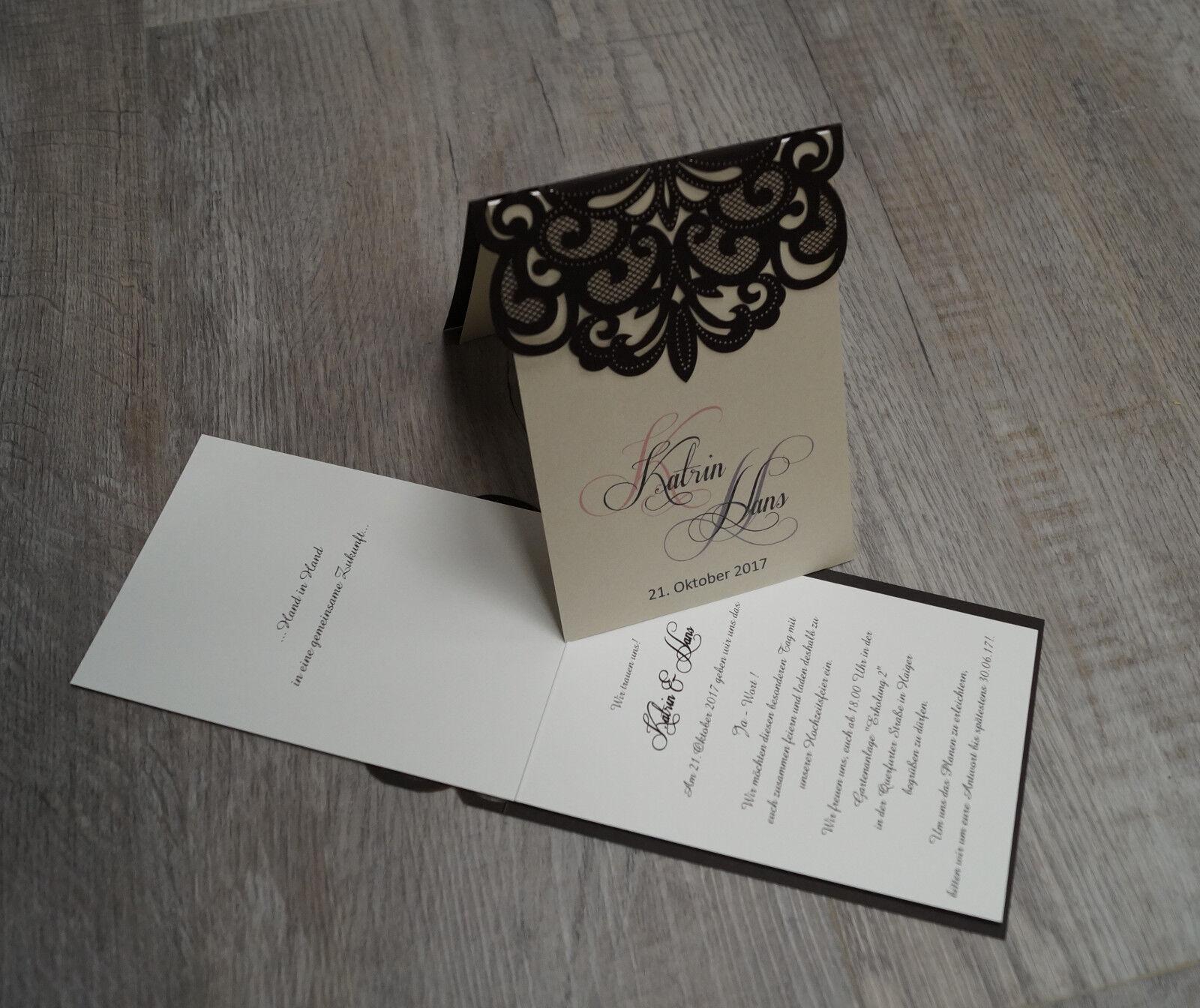 Einladungskarte Hochzeit FE352E mit Umschlag  Hochzeitseinladungskarten | Starke Hitze- und Hitzebeständigkeit  | Elegant und feierlich  | Bekannt für seine gute Qualität