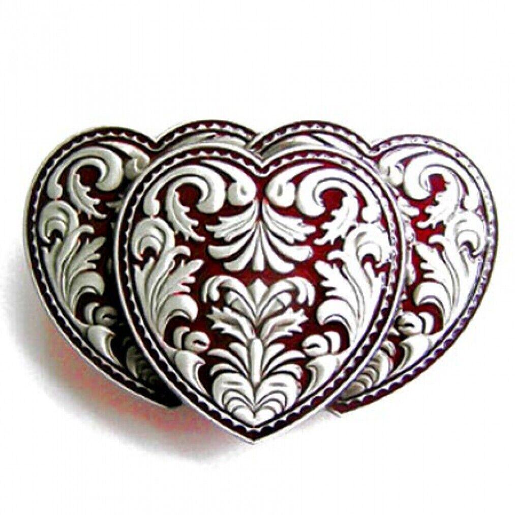 Buckle Triple Hearts 3 Red Hearts Belt Buckle