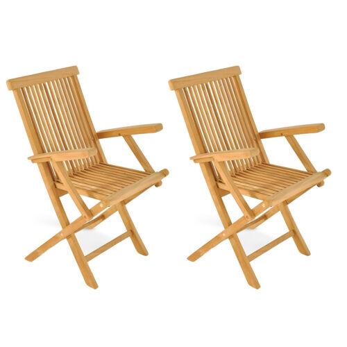 2 PEZZI POLTRONA PIEGHEVOLE BRACCIOLO sedia da giardino sedia pieghevole in vero teak in legno piantagioni coltivazione