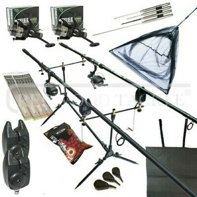 Carp Fishing Starter Set Up Kit Rod Reel Alarm Rod Pod Bait Tools /& Tackle