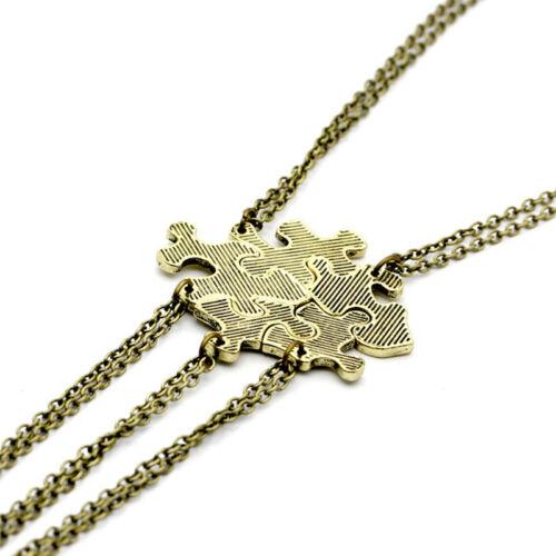 5PCS//1Set Interlocking Jigsaw Puzzle Pendant Necklace Best Friends Friendship FG