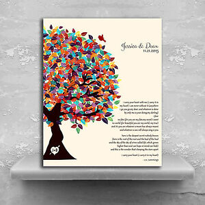 Details About Lt 1287 Personalized Ee Cummings Poem I Carry Your Heart Wedding Tree Spr