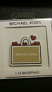 735dd864b3af MICHAEL KORS Leather Sticker Oyster Heart I love Shopping Handbag ...
