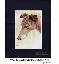 Greyhound The Curious Brindle Signed Art Print Artist Kevin Z Arttogo NEW