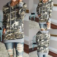 Womens Ladies Army Camo Camouflage Hoodie Jacket Long Sleeve Casual Sweatshirt
