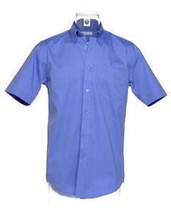 Kustom-Kit-KK109-para-hombre-de-manga-corta-camisa-azul-medio-de-trabajo-de-oficina-informal-Nueva