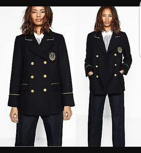 14 Zara 12 Black Taille Coat Uk New Wool L 48F4wq