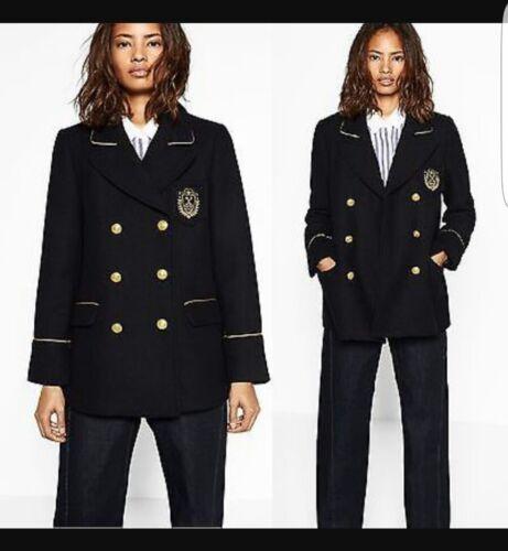 New Coat Brested Black 12 Zara Double Taglia M zwdUpqIW