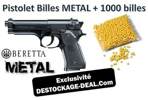 Superbe pistolet billes métal réplique BERETTA MOD.92 FS + sachet 1000 billes