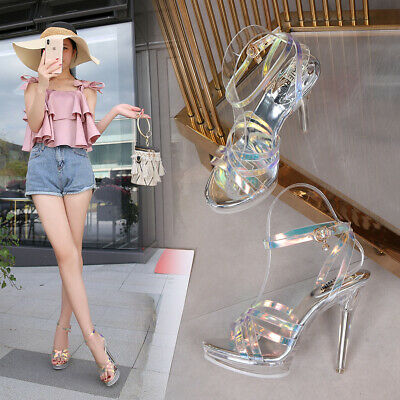 Womens Transparent High Heels Platforms Stilettos Buckle Open Toe Party Shoes