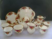"Stunning 22 Piece Tea Set in ""Old Country Roses"" Design by Royal Albert."