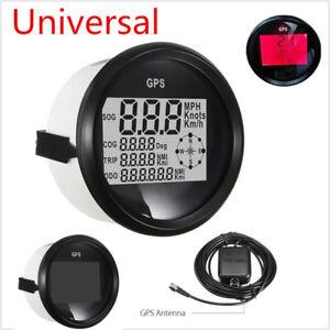 Trip Meter Gps Lcd Digital Speedometer Gauges 85mm 12  24v