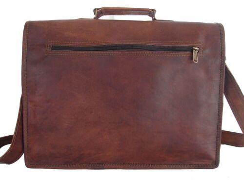 """Men/'s Vintage Leather Briefcase Messenger Shoulder Bag 13/"""" Laptop Saddle Satchel"""