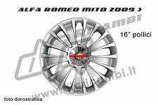ALFA ROMEO MITO CERCHI ORIGINALI COPERCHIO COPRIMOZZO ARGENTO CROMO 16 pollici 50508972 NUOVO