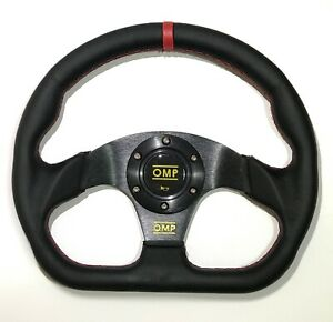 320mm-Red-Stitch-Leather-Flat-Style-Steering-Wheel-Racing-for-MOMO-Hub-OMP-BossK