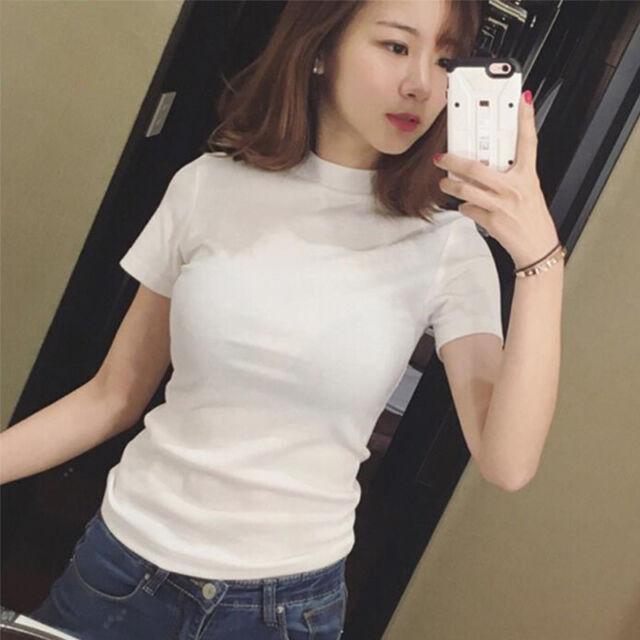 8bfcea2d Womens Sexy Casual Slim Fit T Shirt Short Sleeve Turtleneck Summer T-shirt  Fad