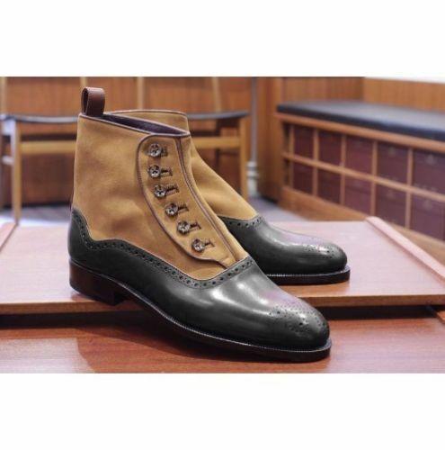 botas para hombre Hecho a Mano Bronceado Y Negro Cuero al Tobillo Zapatos Vestido Formal Botón de dos tonos