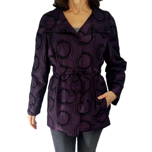 UBU  Size M/L Purple Black Flocked Belted Button Front Jacket Pockets Fall 217F