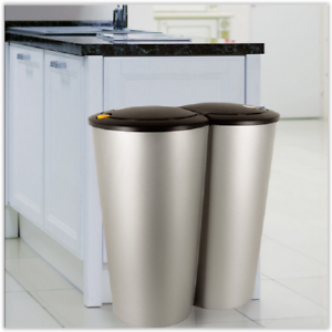 Image Is Loading Kitchen Recycling Bin Double Waste Can Garbage Rubbish