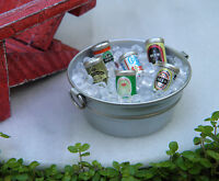 Miniature Dollhouse Fairy Garden Accessories Tub With Ice & Beer Cans