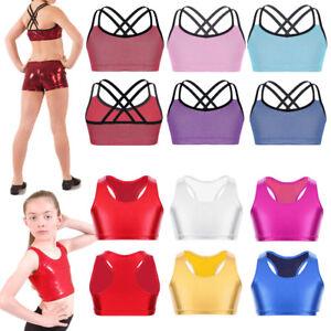 473ffb5f6dab Kid Girl Gymnastics Leotard Crop Top Ballet Metallic Dancewear Tank ...