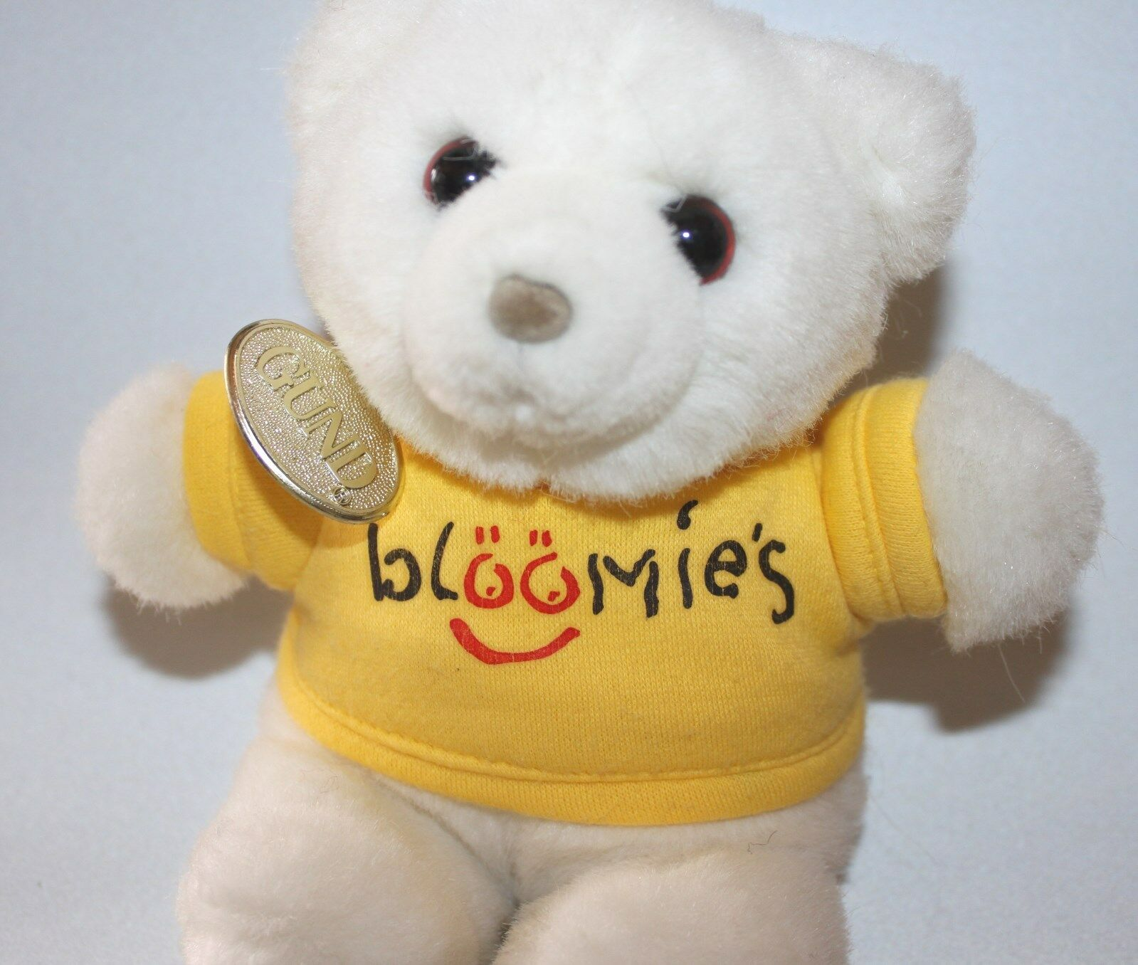 Vtg Bloomie's Gund Bear Plush Stuffed Animal Gelb Shirt & Tag Bloomingdale's