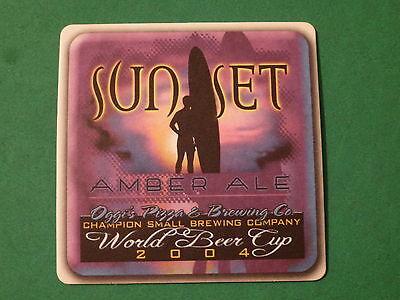 Reklame & Werbung Intellektuell Bier Brewery Untersetzer ~ Oggi's Pizza & Gär 2004 World Tasse Zoll Sunset