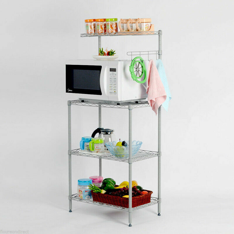 3-Tier Kitchen Storage Stand Rack Workstation Oven Baker Shelves Organizer Cart