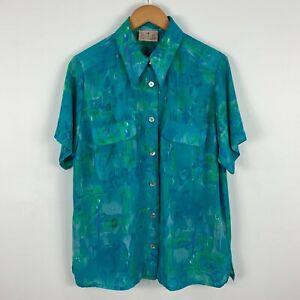 VINTAGE-DIO-Womens-Shirt-Top-12-Blue-Floral-Short-Sleeve-Button-Closure