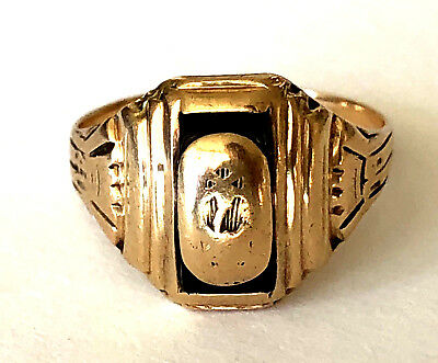 Antique Balfour 10K Solid Yellow Gold Etched Ladies Signet Ring Size 7  Engraved | eBay
