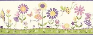 Wallpaper-Border-Purple-Pink-Green-Yellow-Flower-Fairies-on-White-amp-Purple-Trim