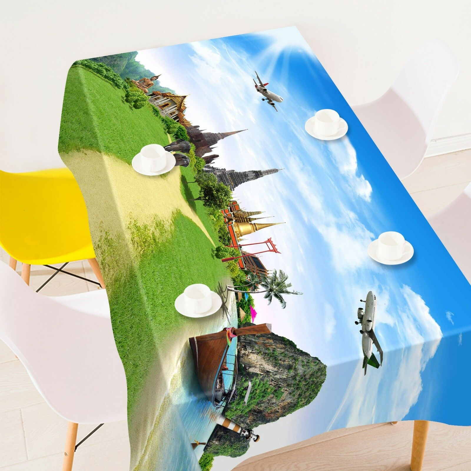 3D Lawn Aircraft 074 Tablecloth Table Cover Cloth Birthday Party Event AJ Lemon