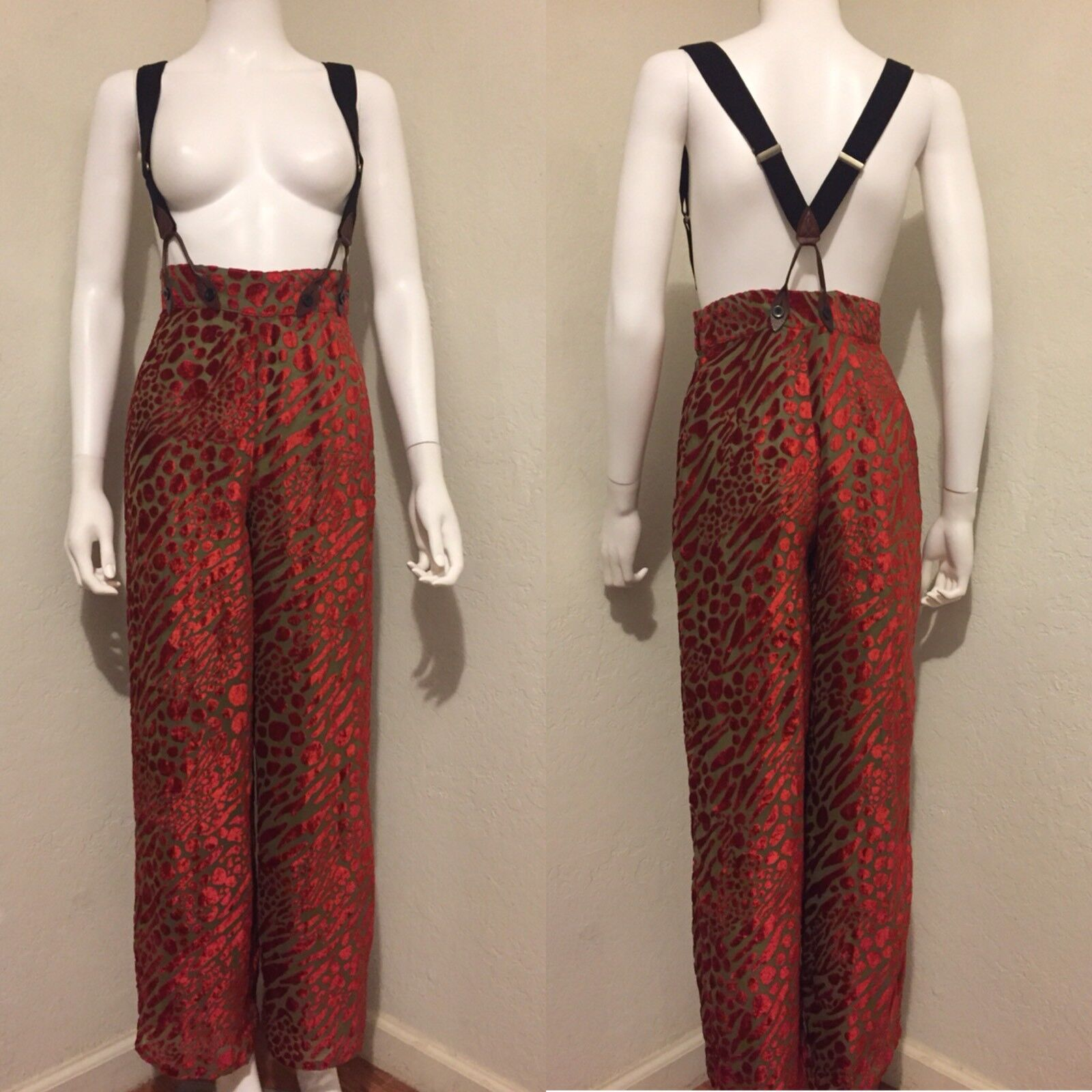 Rare Vintage Jean Paul Gaultier Junior 80s 90s Velour Suspender Pants 40 S