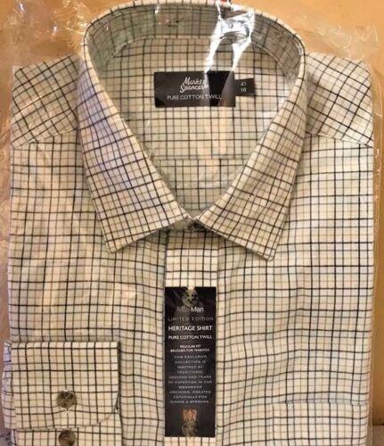 """M/&S Da Uomo Heritage Camicia Puro Cotone Twill 15/"""" collo circonferenza petto 38/"""" Nuovo di Zecca"""