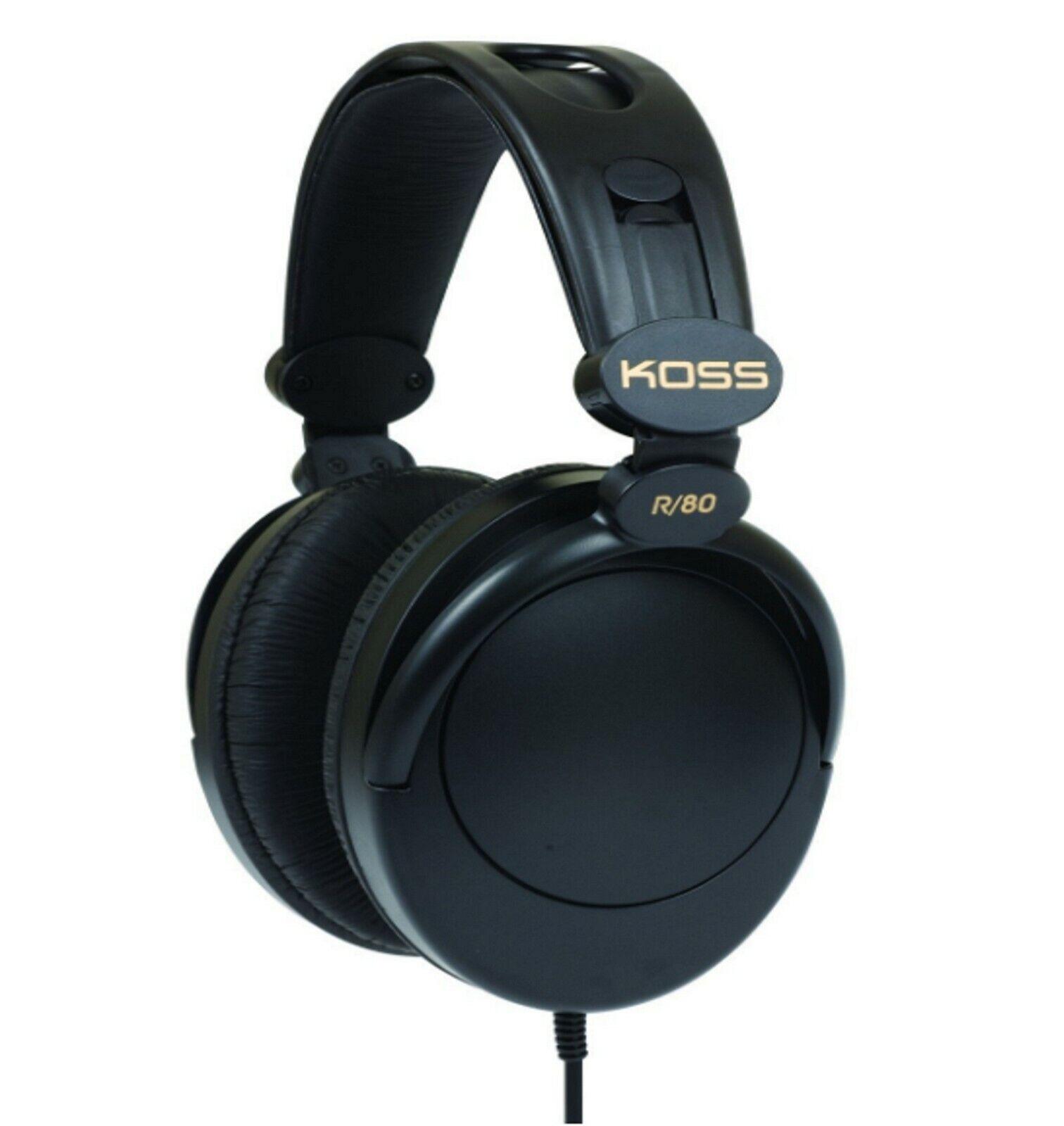 Koss R80 Over Ear Black  Headphones noise isolating Stereophone