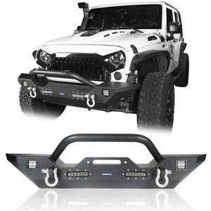 For Jeep Wrangler JK 2007-2018 Textured Black Front Bumper w/LED Lights & D-Ring
