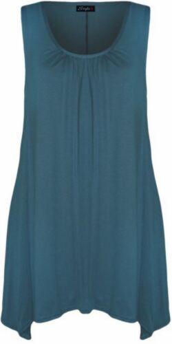 New Womens Plus Size Hanky Hem Long Tunic Dress Top 16-26