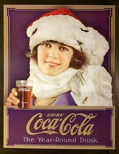 Coca Cola TIN SIGN Coke REAL THING ad metal vtg wall decor bottle drink bar 1053