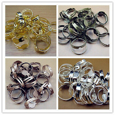 Lots Gold Bronze silver plate Adjustable Jump Round RING Flatback Blank base 8MM