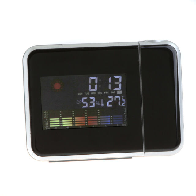 LCD LED Projector Alarm Clock Projecting Weather Station Thermometer Digital US