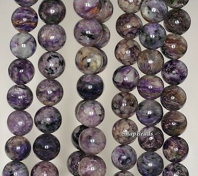 """10MM CHARA RIVER CHAROITE GEMSTONE A  PURPLE ROUND 10MM LOOSE BEADS 15.5/"""""""