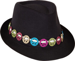 Adult Mens Ladies Black or Pink 1920s Groovy Hippie Hippy Trilby ... e355986598ae