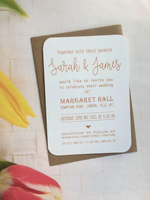 Personalised Wedding Invitations Rustic Day Evening Save The Date Cards  FWD61D1