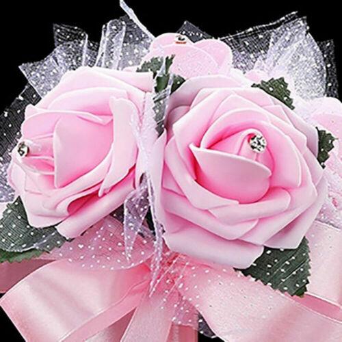 Romantic Crystal Flower Rose Bouquet Wedding Bride Bridesmaid Flower Wand NP2