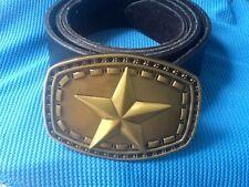 3D GOLD SHERIFF STAR WILDWEST WESTERN COWBOY FANCY DRESS BUCKLE LEATHER BELT